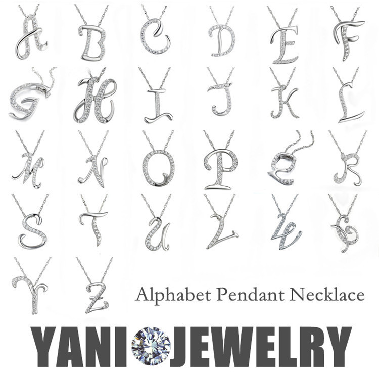 Free Shipping Silver Letter A B C D E F G H I J K L M N O P Q I S T U V W X Y Z Pendant Necklace Chain Statement Necklace