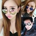 Cat eye sunglasses mujeres cat eye sunglasses classic diseñador de la marca de doble vigas marco de oro rosa de los hombres gafas de sol para mujeres
