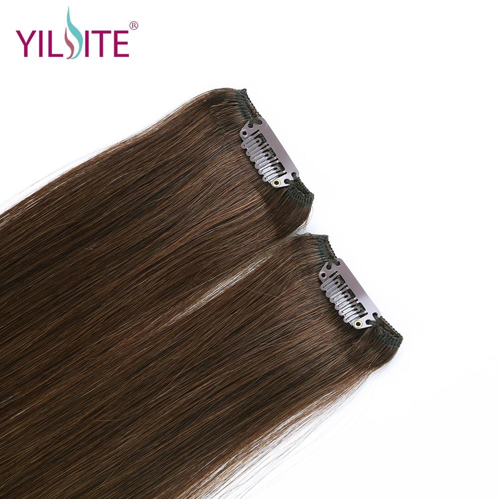 YILITE doble dibujado europeo remy cabello humano recto sedoso clip - Cabello humano (blanco) - foto 4