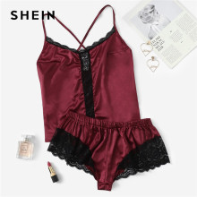14b76b19a0 SHEIN Women Burgundy Plus Size Pajama Set Contrast Lace Trim Satin Sexy Cami  Top And Shorts Sleepwear Summer Nightwear-in Pajama Sets from Underwear ...