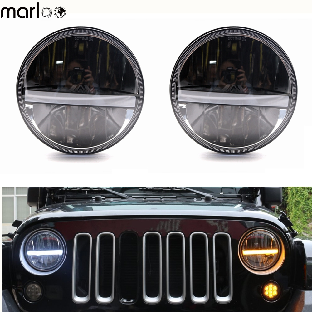 Marloo 7 LED Headlight For Jeep Wrangler Jk LJ TJ CJ With White DRL Amber Turn