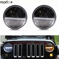 Marloo 7 LED Headlight For Jeep Wrangler Jk LJ TJ CJ With White DRL Amber Turn Signal Parking Light Front Bumper Headlights