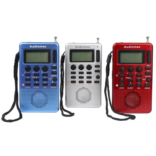 Audiomax Mini Bolsillo de Radio FM AM Radio Receptor de Radio MP3 Reproductor de Música Del Altavoz Del USB con Reloj Despertador temporizador Y4115