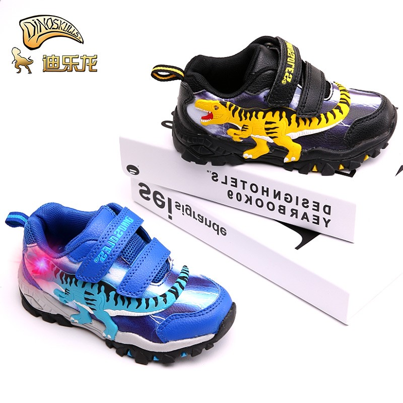 Dinoskulls Kids Leather LED Shoes Boys Glowing Sneakers Dinosaur Autumn Casual Running Shoes Anti slip Child