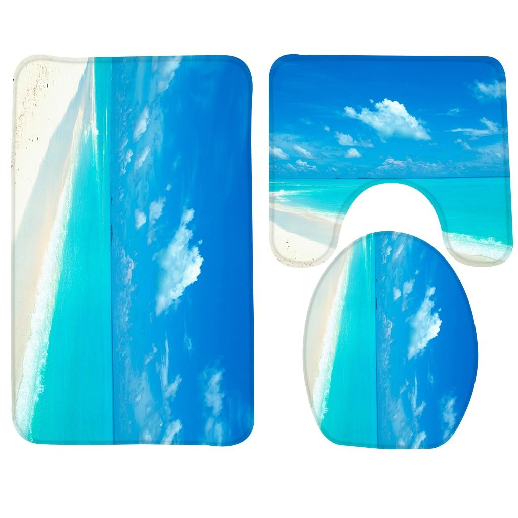 3pcs Bathroom Mat Set Blue Beach Pattern Bath Mat Anti
