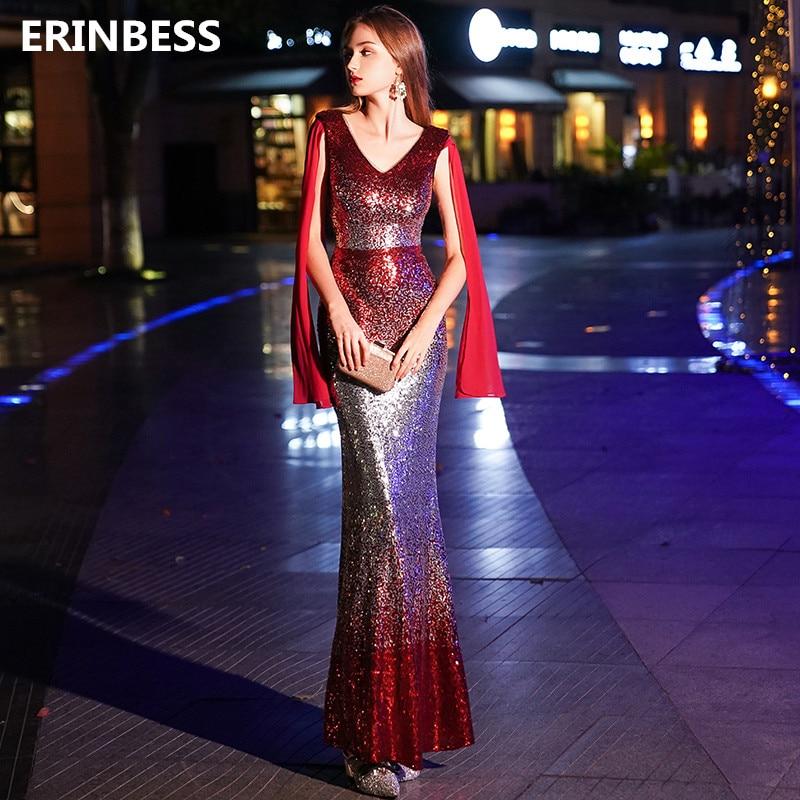 Prom     Dresses   2019 Vestido De Festa Formal   Prom   Gowns For Women V-Neck Sequin Mermaid   Prom     Dress   Gown Sequin Reflective   Dress