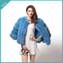 New Arrival 2015 Winter Coat Women Fox Fur Jacket High-Grade Faux Fur Warm Coat Outwear Three Quarter Sleeve Women Coats