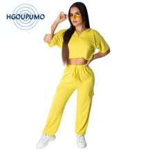 Neon Yellow Plus Size 2 Piece Tracksuit Women Clothes Short Sleeve Hooded Crop Top And Drawstring Long Pants Casual Sweatsuits hooded crop top and drawstring camo pants