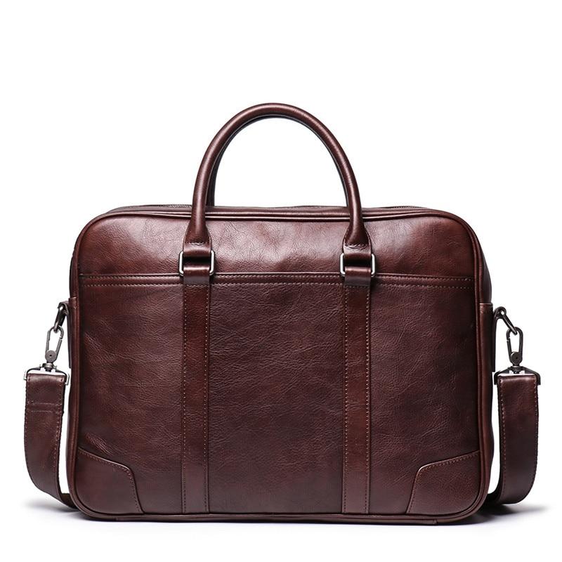 Nesitu Brown Coffee A4 Full Grain Genuine Leather 14'' Laptop Office Women Men Briefcase Portfolio Business Messenger Bag M9087