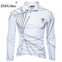 Tops Brand Autumn Men Casual Long Sleeved T Shirt Fashion Spider Web Pattern Print Men S