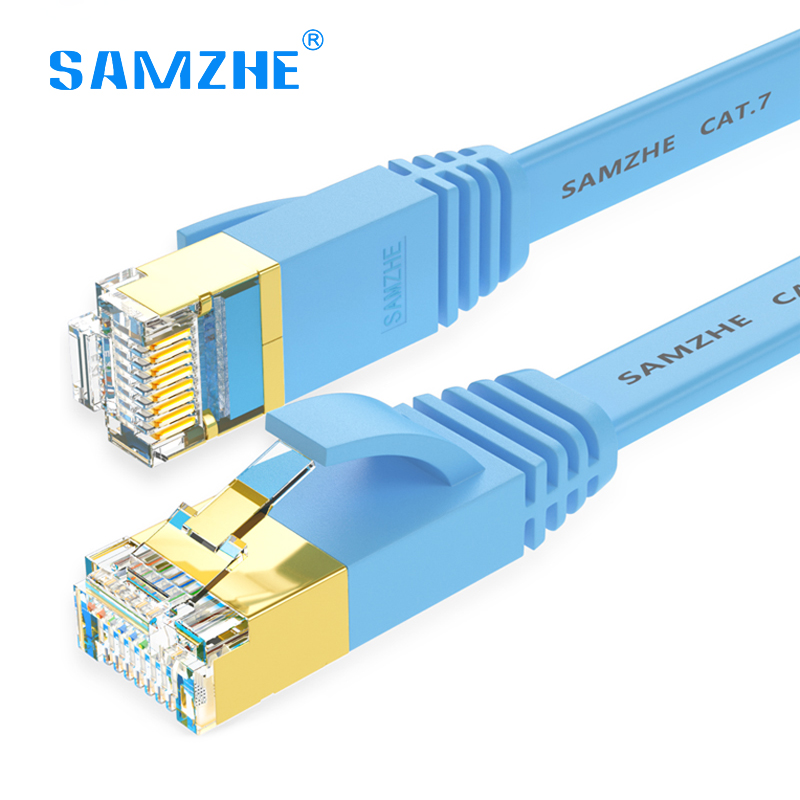 SAMZHE cat7 Ethernet Cable flat internet Network lan cable 1m 2m 3m 5m 8m 10m high speed 10gbps RJ45 for modem Laptop computer 1m 3m 5m 10m 15m ethernet cable cat7 lan network cable flat rj45 high speed patch stp gigabit cords xxm