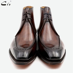 Image 3 - Cie Full Grain Genuine Calf Leather Boot Patina Brown Handmade Lacing Derby Ankle Boots A06