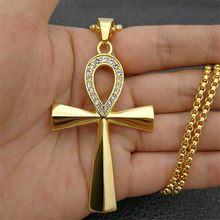 Egypt Iced Out Bling Ankh Cross Pendant Necklace Women Men Key of Life Gold Color Stainless Steel Rhinestones Egyptian Jewelry(China)