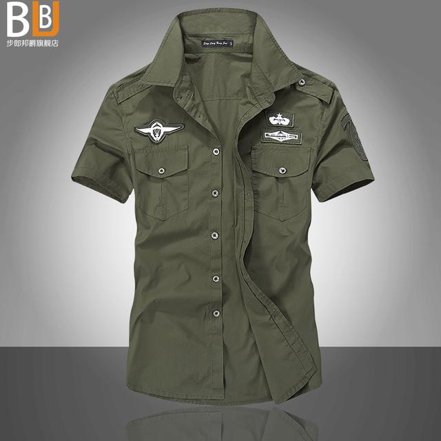 2016 Notícias camisas Moda força aérea uniforme militar de manga curta camisas dos homens camisa de vestido frete grátis A camisa do uniforme militar