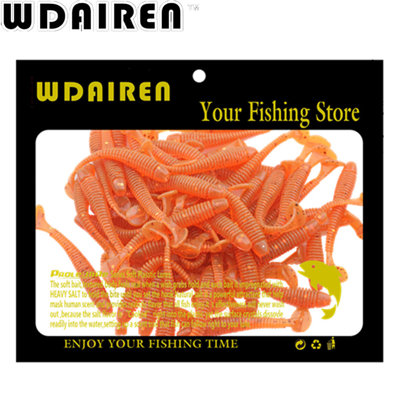 50pcs/lot Fishing Lure Soft Baits souple Shad 45mm 0.7g Minnow Silicone Carp Fishing Iscas Saltwater Swimbait WD-001