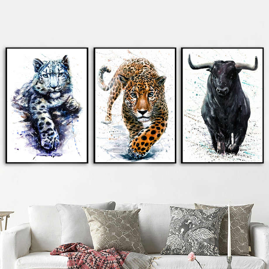 Black panther lion tiger bison watercolor wall art canvas painting nordic posters and prints wall pictures for living room decor