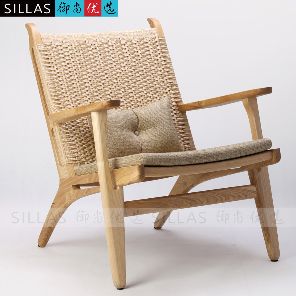 Nordic Single Sofa Chair Wood Logs Braided Rope Lounge