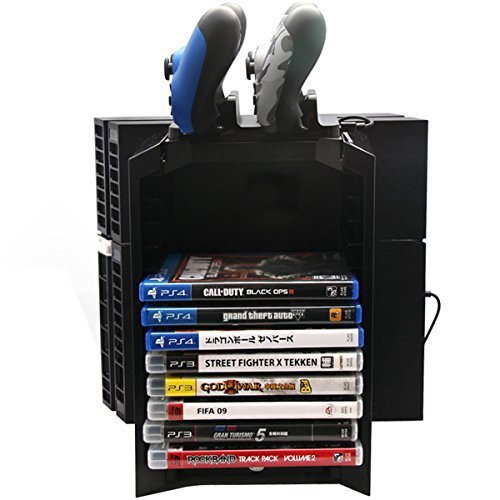 Multifunctional Disk Storage Holder Tower with Controller Charger Dock Station With Micro USB Cable For PS4 Game Controller