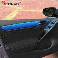 Embellecedor de manija de puerta para Volkswagen VW Golf 6 MK6, Panel de interruptor de ventana, pegatina de película de fibra de carbono, accesorios de estilo de coche