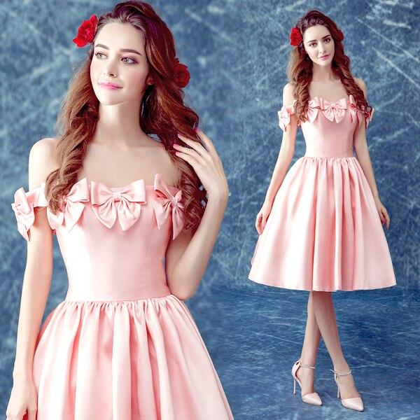 Vestido De Festas Elegante corto de Color Rosa vestidos de baile ...