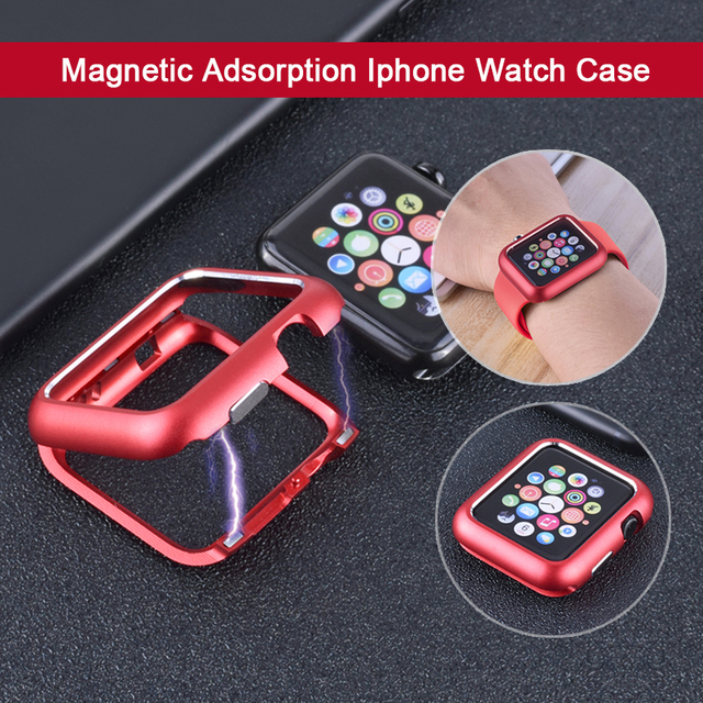 Magnetic Adsorption Metal Frame Protective Case for Apple Watch 38MM 42MM Series 1 2 3 for iwatch 440MM 44MM  Cover Bumper
