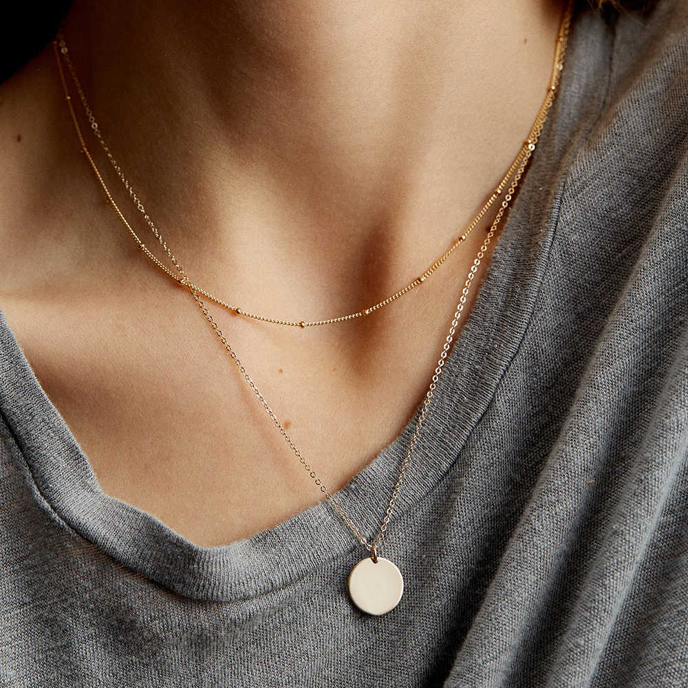 CC Stainless Steel Long Round Necklace For Women Gold Color Fashion Jewelry Chain Double Layered Choker Necklace