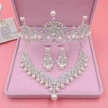 Ślubne wesele luksusowe błyszczące kryształki zestaw biżuterii sztuczna perła peruki imprezowe biżuteria damska delikatne kolczyki Tiara Necklack