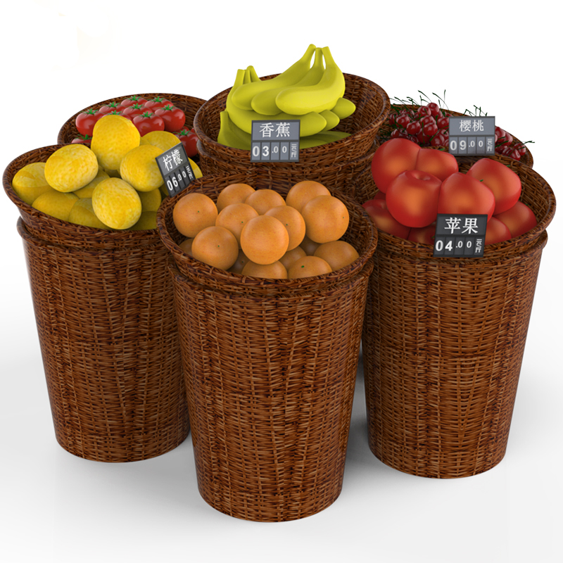 Large Rattan Basket Set Round Fresh Fruits Vegetables