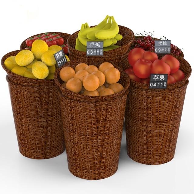 Large Rattan Basket Set Round Fresh Fruits Vegetables Display Supermarket  Promotion Shelf Store Storage Showing Rack