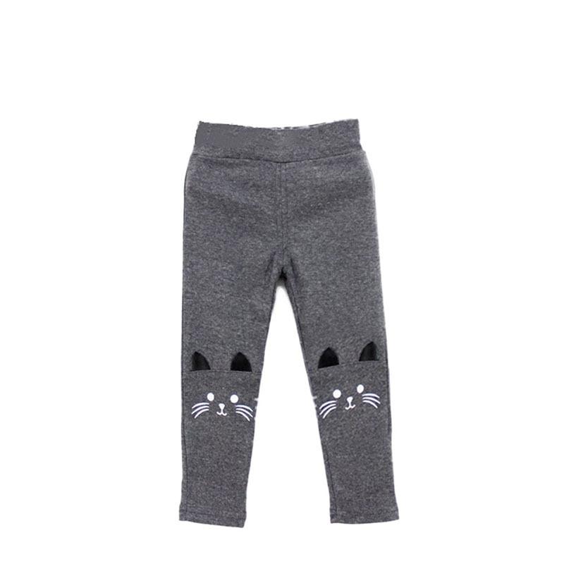 1 предмет, милые обтягивающие штаны для маленьких девочек, новые эластичные теплые леггинсы с принтом кота - Цвет: Темно-серый