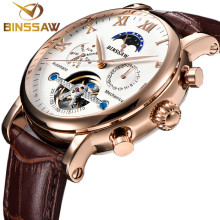 BINSSAW Men Automatic Mechanical Tourbillon Watch Fashion luxury brand Leather calendar Steel Sports Watches Relogio Masculino read military full steel brand automatic self wind relogio masculino watches mechanical fashion luxury men watch clock pr137