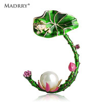 Madrry Vivid Green Enamel Leaves Lotus Flower Shape Brooches For Women Simulated Pearl Brooch Pin Dress