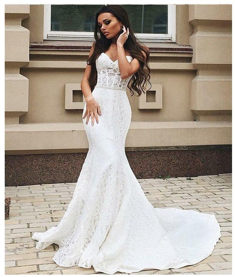 SoDigne Mermaid Wedding Dresses 2019 Lace Appliques With Beaded Sashes Sleeveless Bride Dress Custom Made Vintage Wedding Gown