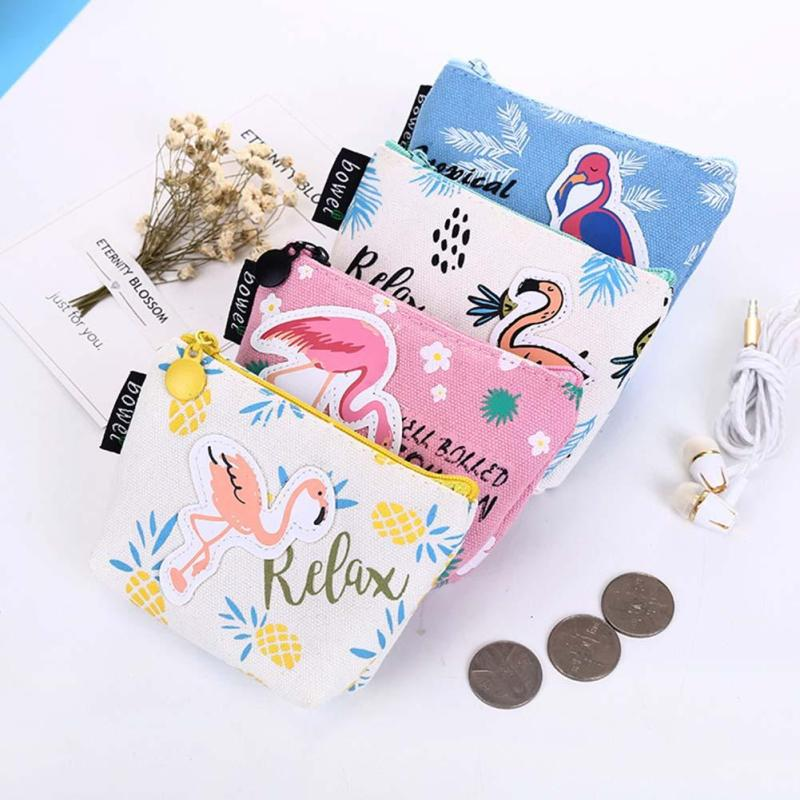 2017 New Cute Women Coin Purses Flamingo Cartoon Printing Bags for Girls Gift Canvas Mini Key Bags with Zipper Purse Hot sell Y3 2017 new animal style coin purse wallet women small canvas bags cartoon flamingo money key holders pouch zipper bag