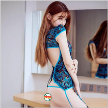Hot baby doll sexy lingerie split cheongsam peacock feather lace sexy transparent lingerie sexy underwear sets without socksA626