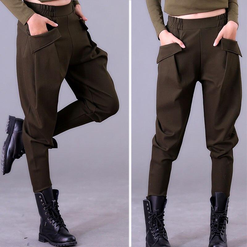 Women's Pants Autumn And Winter  Harem Pants Women's Casual Trousers Were Thin Elastic Waist Pants Large Size Radish Pants Black