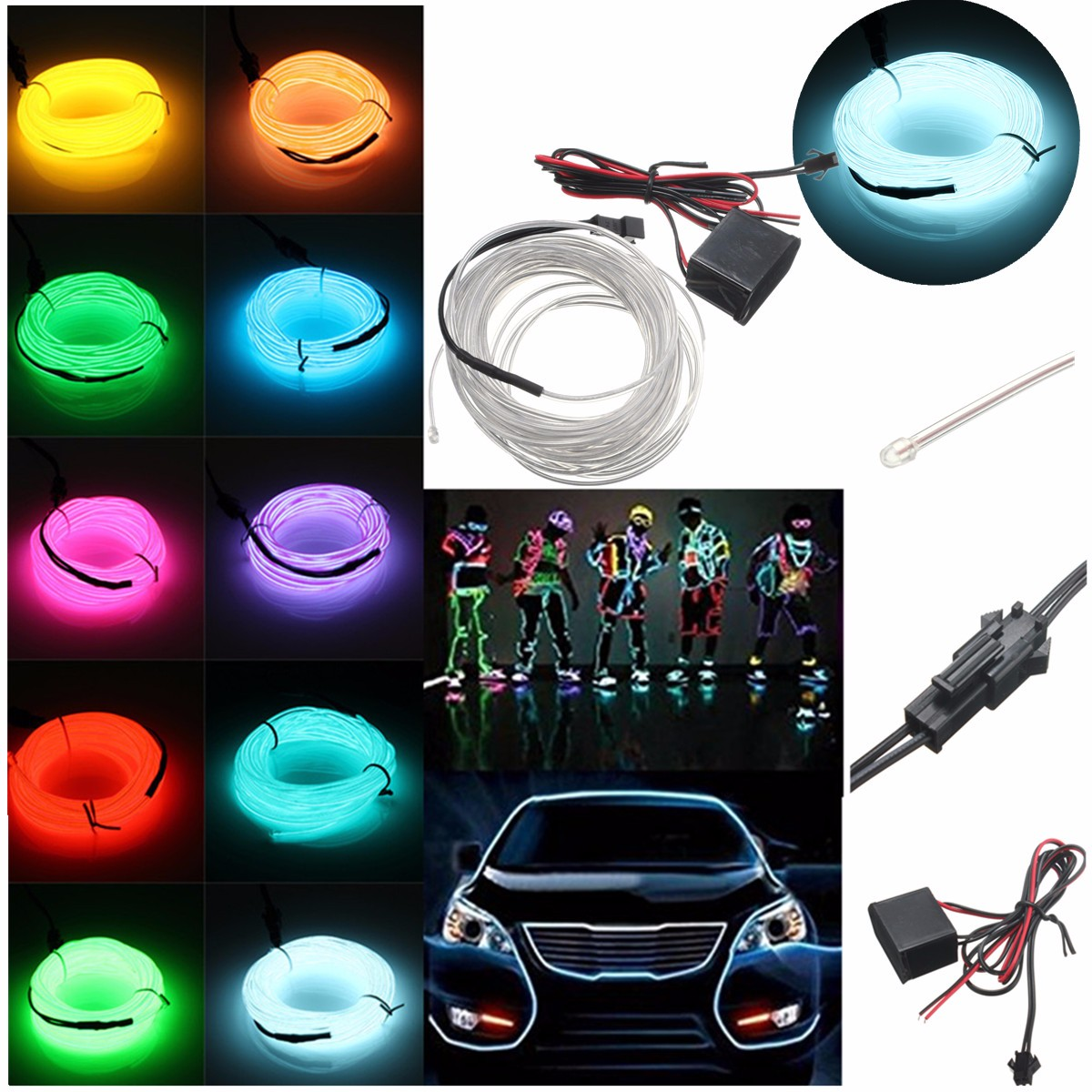 Smuxi 5M Flexible EL Wire Neon Light Dance Party Decor Light Neon LED Lamp EL Wire Rope Tube Waterproof LED Strip+Controller