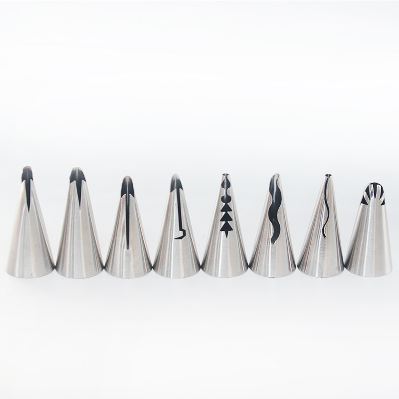 8PCS Stainless Steel Cake Decorating DIY Nozzle Pastry Tips Set Icing Piping Tips Set Baking Pastry Nozzle Tools