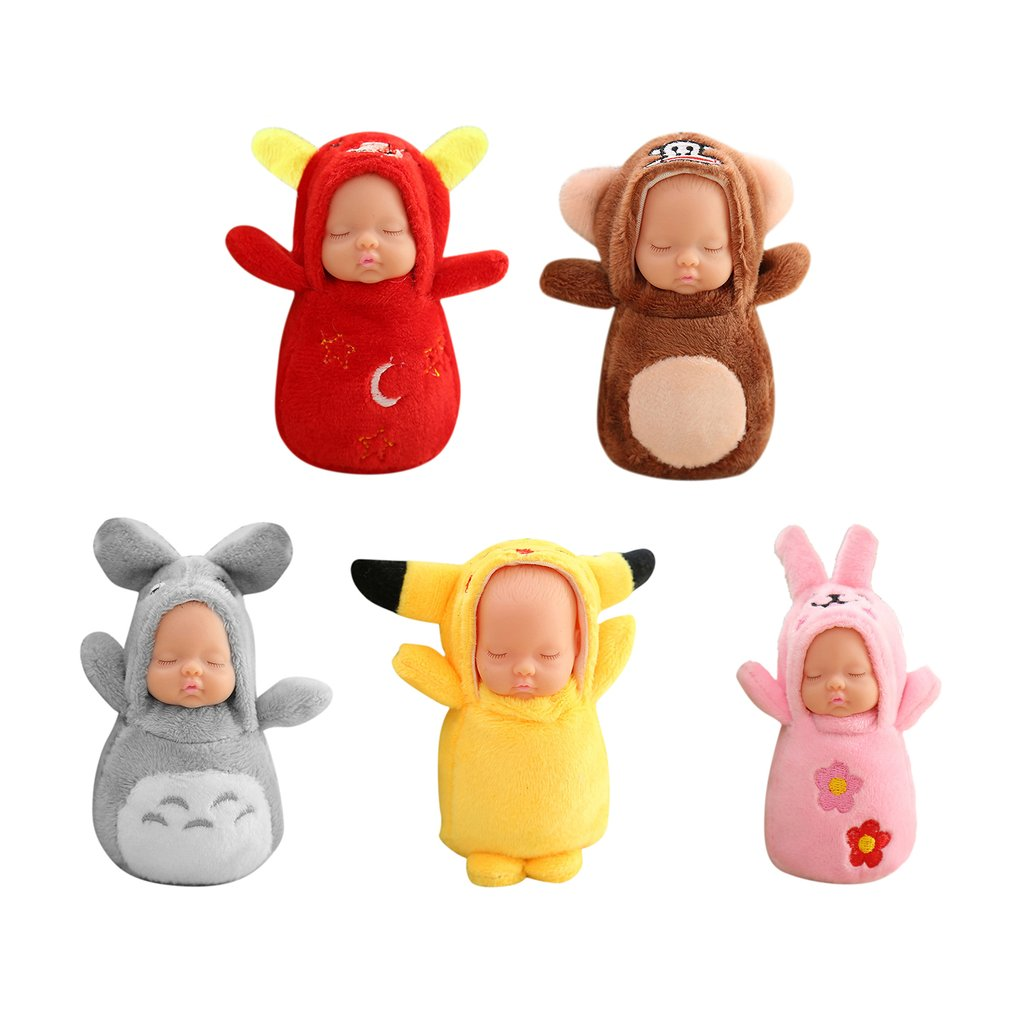Hot! 5 Types Plush Keychains Toy Fashion Cute Sleeping Baby Doll Keychain Small Soft Doll Pendant Bag Charm PP Cotton for Kids