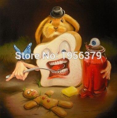 Artiste peint à la main de haute qualité drôle maître peinture à l'huile sur toile maître nettoyage dents peinture à l'huile pour salon décor