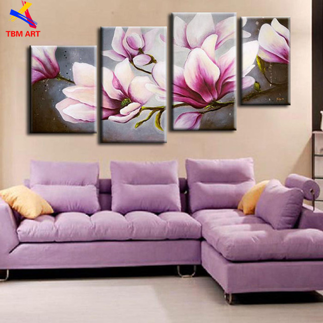 The Cherry Blossom Pink Color Flower 4PCS  Real Handmade Modern Abstract Oil Painting On Canvas Wall Art for Living Room  Z056