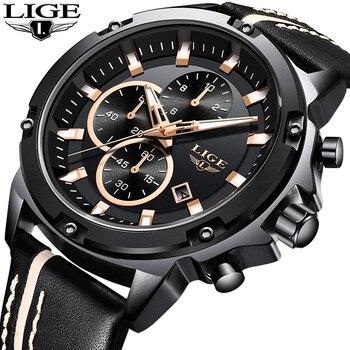 LIGE Neue Sport Chronograph Mode Uhren Männer Mode Leder Wasserdicht Top Luxus Marke Quarzuhr Business Geschenk Uhr Saat