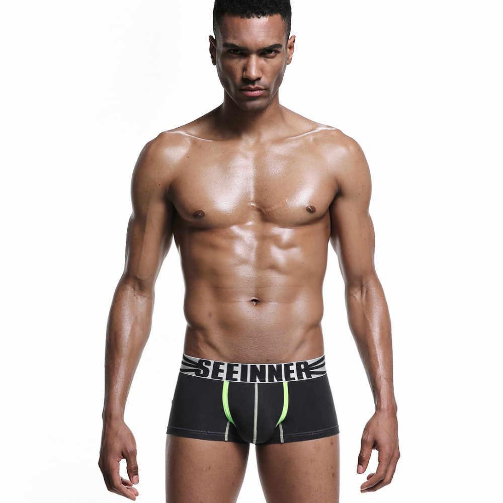Seeinner Marka Iç Çamaşırı Erkek Boksörler Şort Dijital baskı Erkekler Seksi Cueca Boxer Pamuk moda U dışbükey kese erkek eşcinsel külot