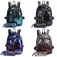 2 unids/set brillo lentejuelas mochila nueva adolescentes moda Bling mochila de estudiante de la escuela bolso lápiz caso embrague Mochilas