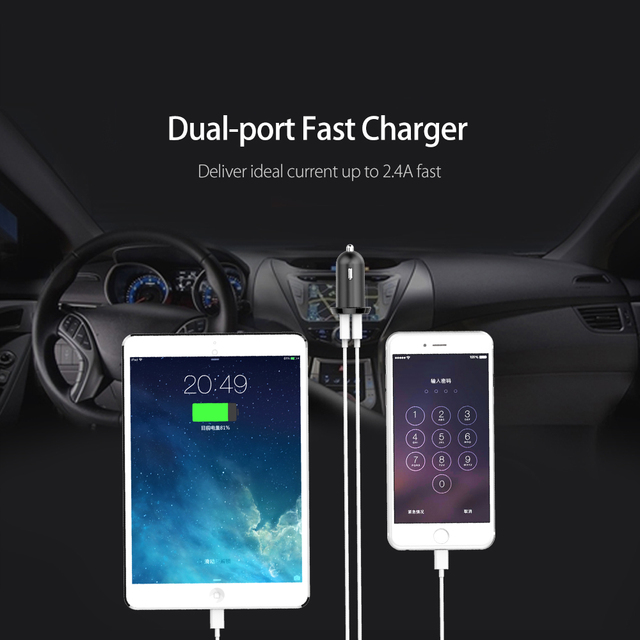 ORICO Car Charger 17W Dual USB Output 2.4A Fast Charging Mobile Phone Travel Adapter Cigar Lighter DC 12-24V Car Phone Charger