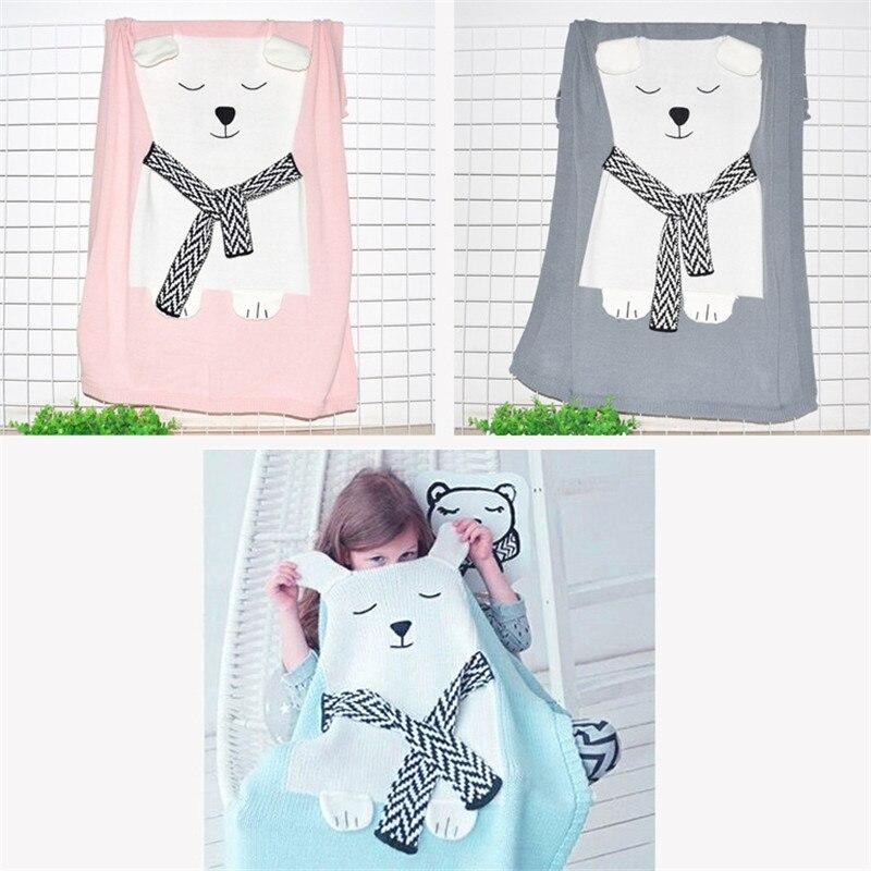 Manta de bebé Oso Blanco patrón de animales manta de lana suave ...