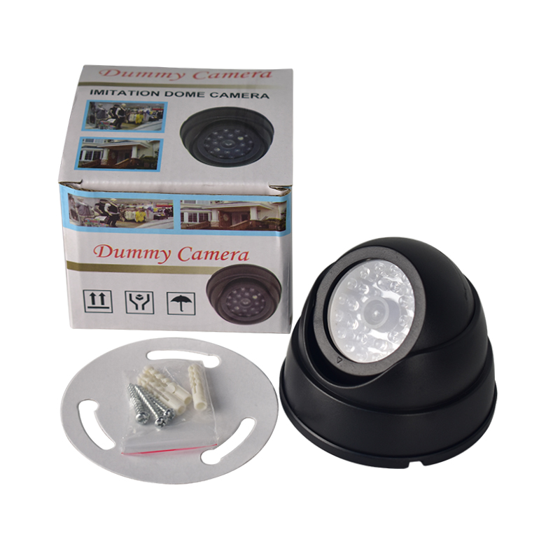 FGHGF Outdoor CCTV Fake Camera Family Surveillance Security Dome Mini Camera Black 26 Flashing LED Light Home Simulation Camera
