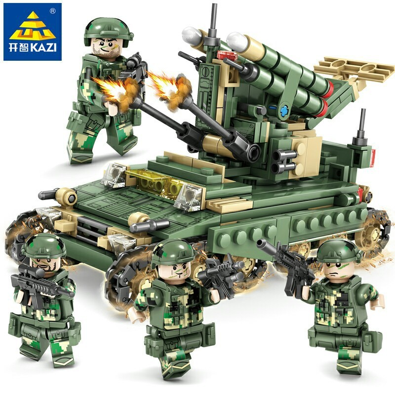 KAZI Military Field Army Building Blocks Toy Bricks Armored Car Tank Heads Playmobil Educational Toys for Children Birthday Gift