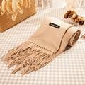 Chales y Bufandas de Cachemira Capa Sólida Bufanda de Invierno Cálido Marca de Lujo Bufandas de La Borla de las Mujeres de Cachemira Pashmina Suave Bufanda de Las Mujeres