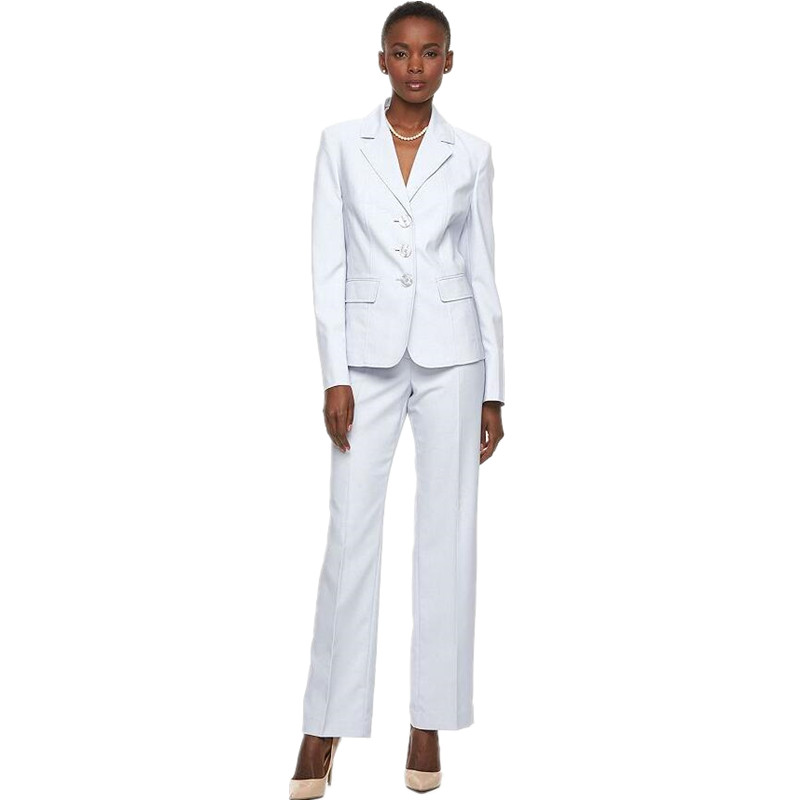 new 2018 Women Pant Suits Slim White Women Tuxedos Peaked Lapel Suits For Womens Clothing Custom Button Business Women Suits